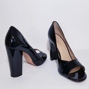 Talbots Peep Toe Patent Leather Block Heels 8.5B